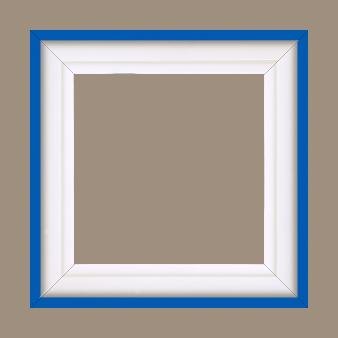 Caisse bois caisse américaine profil escalier largeur 4.4cm blanc mat filet bleu (spécialement conçu pour les châssis d'une épaisseur jusqu'à 2.5cm ) - 15x20