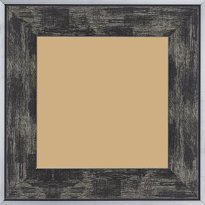 Cadre bois profil plat largeur 5.4cm noir sur argent filet argent extérieur - 70x90