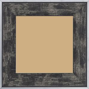 Cadre bois profil plat largeur 5.4cm noir sur argent filet argent extérieur
