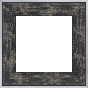 Cadre bois profil plat largeur 5.4cm noir sur argent filet argent extérieur - 50x50