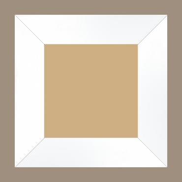 Cadre bois profil plat largeur 6cm couleur blanc mat finition pore bouché haut de gamme - 20x20