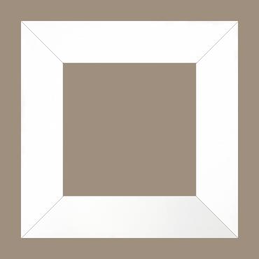 Cadre bois profil plat largeur 6cm couleur blanc mat finition pore bouché haut de gamme - 50x50