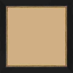 Cadre bois profil plat largeur 2.5cm couleur noir finition pore bouché filet or - 60x60