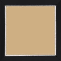 Cadre bois profil plat largeur 2.5cm couleur noir finition pore bouché filet argent - 60x60