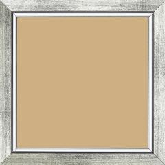 Cadre bois profil plat largeur 2.5cm couleur argent chaud filet argent froid surligné noir - 50x75