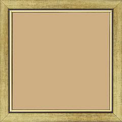 Cadre bois profil plat largeur 2.5cm couleur or filet or surligné noir - 21x29.7