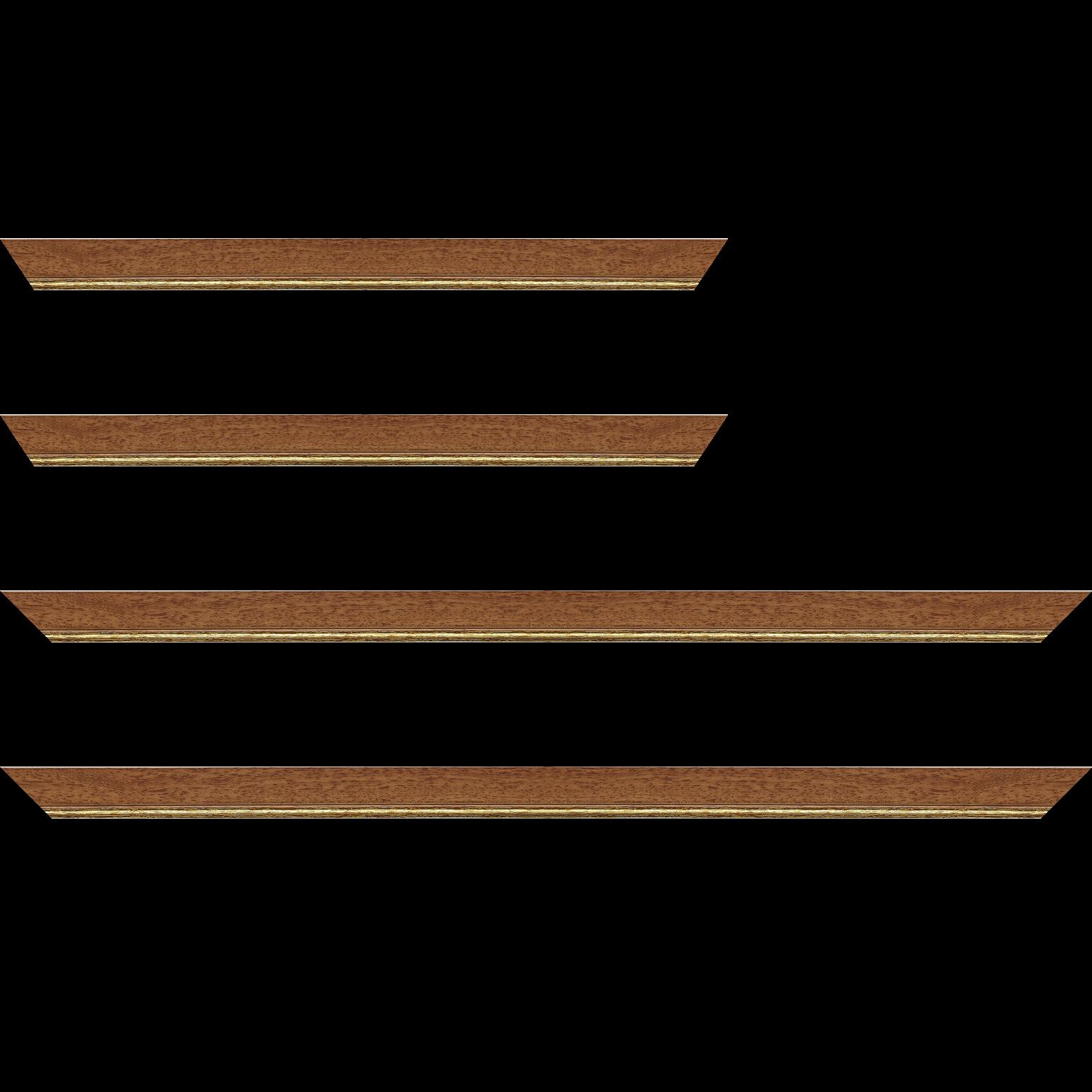 Baguette bois profil plat largeur 2.5cm couleur marron ton bois filet or