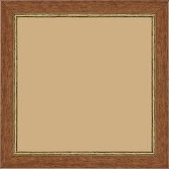 Cadre bois profil plat largeur 2.5cm couleur marron ton bois filet or - 15x20