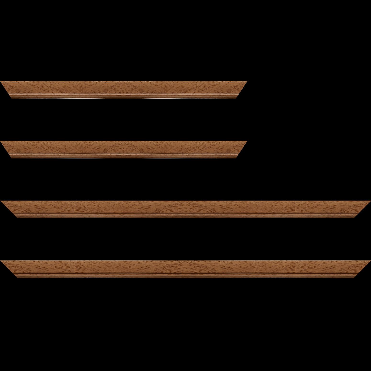 Baguette bois profil plat largeur 2.5cm couleur marron ton bois
