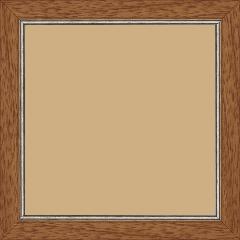 Cadre bois profil plat largeur 2.5cm couleur marron ton bois filet argent - 30x30
