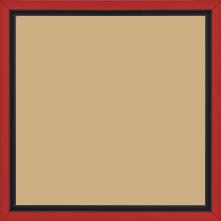 Cadre bois profil plat largeur 1.6cm couleur rouge satiné filet noir en retrait de la face du cadre de 6mm assurant un effet très original - 40x50