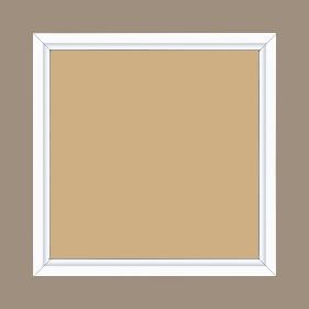 Cadre bois profil plat largeur 1.6cm couleur blanc mat finition pore bouché filet blanc en retrait de la face du cadre de 6mm assurant un effet très original - 30x30
