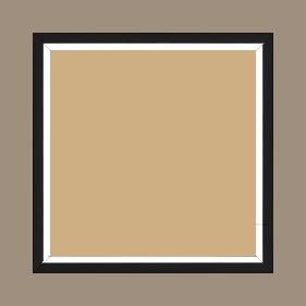 Cadre bois profil plat largeur 1.6cm couleur noir mat finition pore bouché filet blanc en retrait de la face du cadre de 6mm assurant un effet très original - 34x46