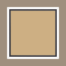 Cadre bois profil plat largeur 1.6cm couleur blanc mat finition pore bouché filet noir en retrait de la face du cadre de 6mm assurant un effet très original - 30x30