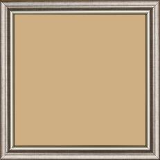 Cadre bois profil arrondi largeur 2.1cm  couleur plomb filet argent chaud - 15x20