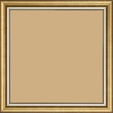 Cadre bois profil arrondi largeur 2.1cm  couleur or filet argent chaud - 21x29.7
