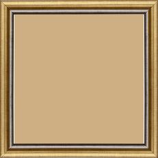 Cadre bois profil arrondi largeur 2.1cm  couleur or filet plomb - 21x29.7