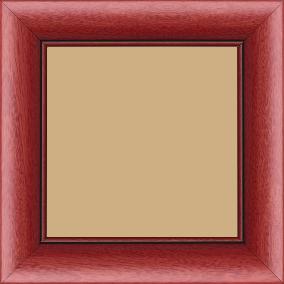 Cadre bois profil arrondi largeur 4.7cm couleur rouge cerise satiné rehaussé d'un filet noir - 60x80
