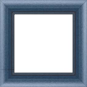 Cadre bois profil arrondi largeur 4.7cm couleur bleu cobalt satiné rehaussé d'un filet noir - 61x46