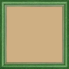 Cadre bois profil doucine inversée largeur 2.3cm vert satiné double filet or - 15x20