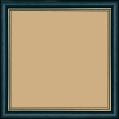 Cadre bois profil doucine inversée largeur 2.3cm bleu pétrole satiné double filet or - 15x20