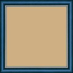 Cadre bois profil doucine inversée largeur 2.3cm bleu tropical satiné double filet or - 15x20