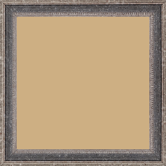 Cadre bois profil incurvé largeur 2.4cm argent antique gorge gris noirci vieilli filet perle argent - 15x20