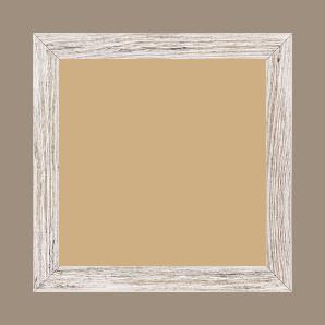 Cadre bois profil arrondi en pente plongeant largeur 2.4cm couleur blanchie frotté effet nature - 15x20