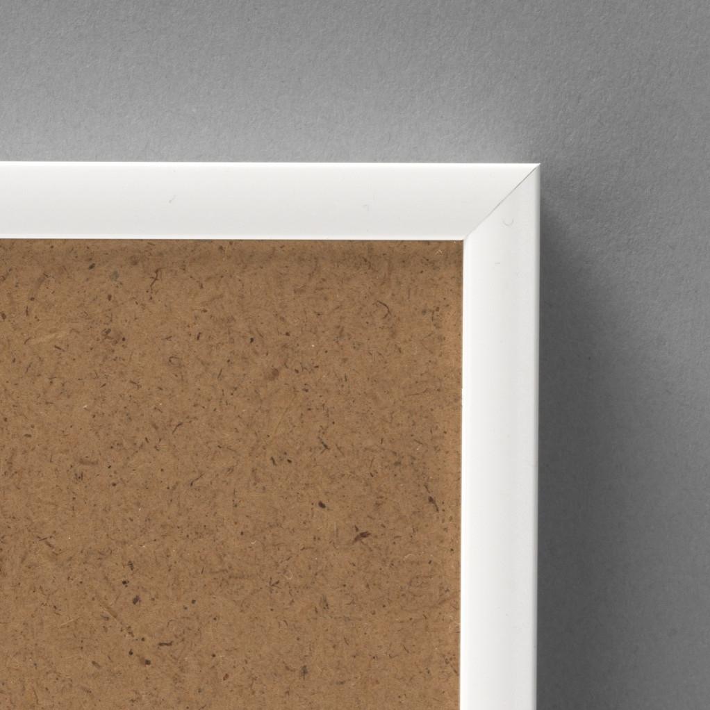 Cadre cadre aluminium dimensions 50x60cm profil méplat de largeur 9mm épaisseur 2,1cm de couleur blanc satiné complet (plexi normal + attache de suspension dans les 2 sens serties dans l'isorel)  tournettes rivetées dans l'isorel pour une mise en place du sujet très rapide et très simple.  cadre livré unitairement sous film de protection. - 50x60
