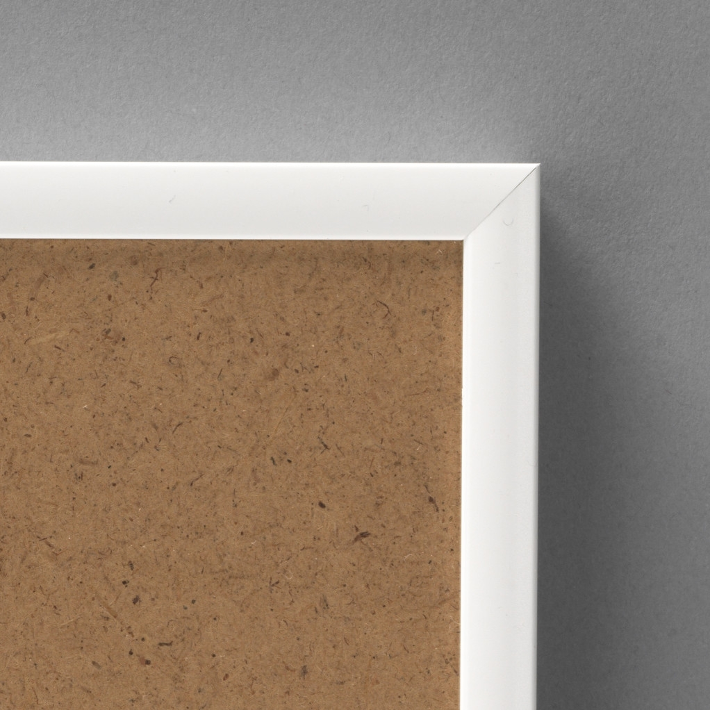 Cadre cadre aluminium dimensions 60x90cm profil méplat de largeur 9mm épaisseur 2,1cm de couleur blanc satiné complet (plexi normal + attache de suspension dans les 2 sens serties dans l'isorel) tournettes rivetées dans l'isorel pour une mise en place du sujet très rapide et très simple. cadre livré unitairement sous film de protection. - 60x90