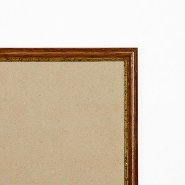 Cadre cadre bois profil arrondi largeur 15mm complet de couleur marron rustique filet or  dimensions 13x18 cm, à poser ou à suspendre horizontalement ou verticalement.   verre normal, mise en place du sujet dans le cadre simple et rapide, ouverture et fermeture du cadre par pointes flexibles. fond en isorel. - 13x18