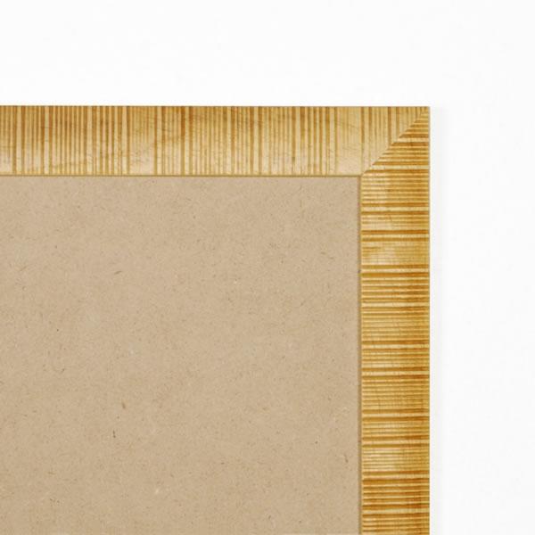 Cadre cadre bois profil plat en pente largeur 30mm complet de couleur naturel strié dimensions 15x15 cm, à suspendre. verre normal, mise en place du sujet dans le cadre simple et rapide, ouverture et fermeture du cadre par pointes flexibles. fond en isorel. - 15x15